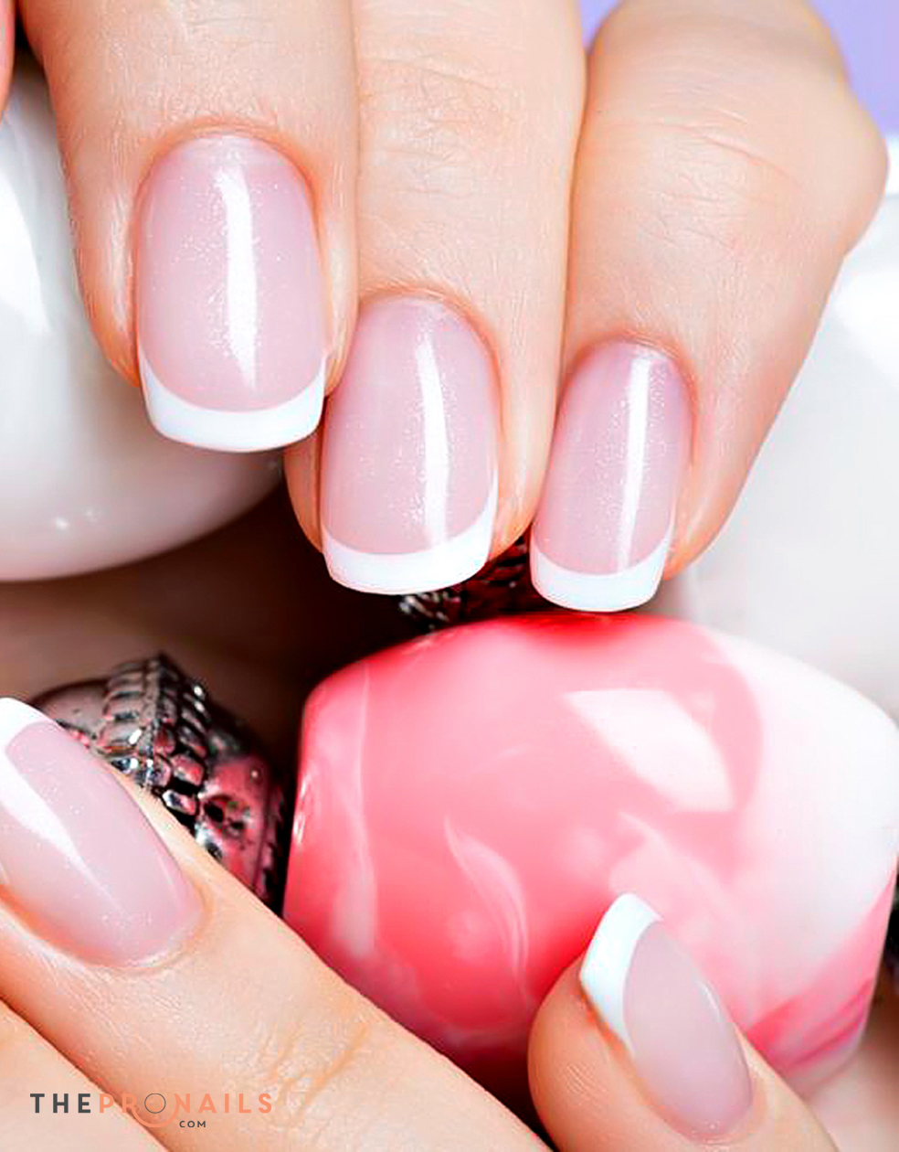 Pink And White Gel Nail Designs Papillon Day Spa